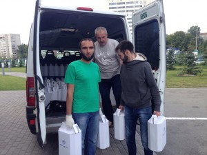 On the eve of Eid al-Fitr Muslim volunteers organized the distribution of gifts to needy